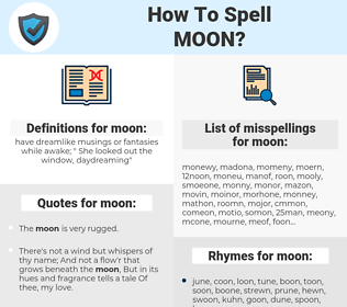 moon, spellcheck moon, how to spell moon, how do you spell moon, correct spelling for moon