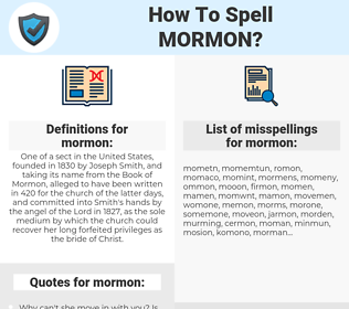 mormon, spellcheck mormon, how to spell mormon, how do you spell mormon, correct spelling for mormon