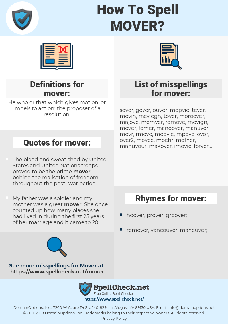 mover, spellcheck mover, how to spell mover, how do you spell mover, correct spelling for mover