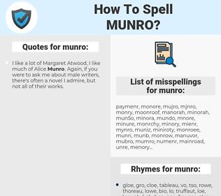 munro, spellcheck munro, how to spell munro, how do you spell munro, correct spelling for munro