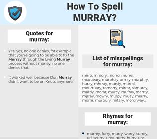 murray, spellcheck murray, how to spell murray, how do you spell murray, correct spelling for murray
