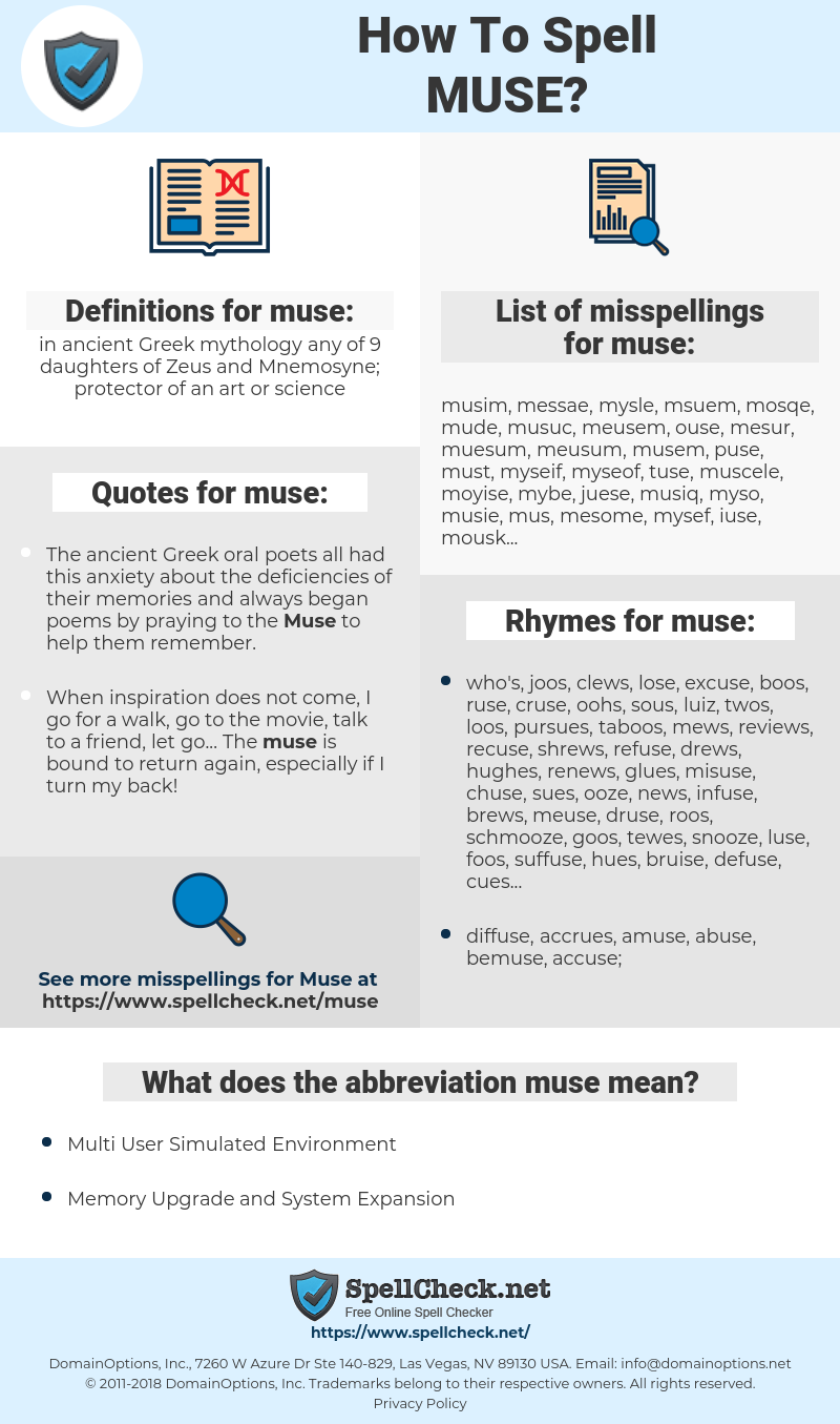 muse, spellcheck muse, how to spell muse, how do you spell muse, correct spelling for muse