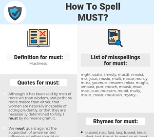 must, spellcheck must, how to spell must, how do you spell must, correct spelling for must