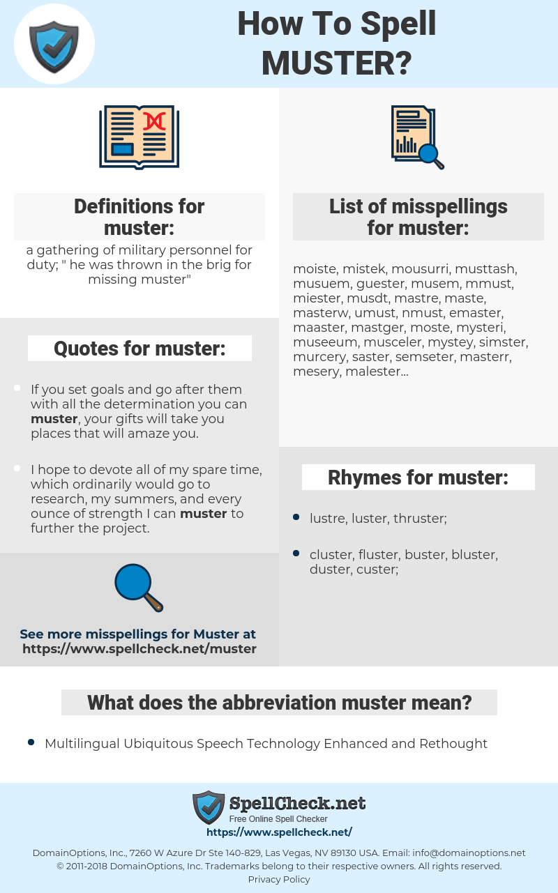 muster, spellcheck muster, how to spell muster, how do you spell muster, correct spelling for muster