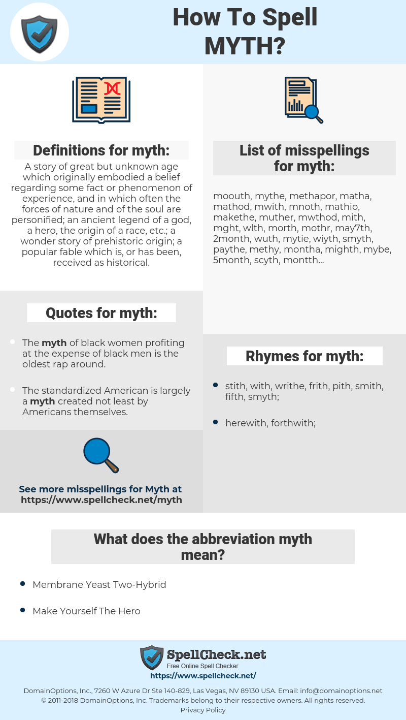 myth, spellcheck myth, how to spell myth, how do you spell myth, correct spelling for myth