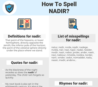 nadir, spellcheck nadir, how to spell nadir, how do you spell nadir, correct spelling for nadir