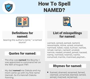 named, spellcheck named, how to spell named, how do you spell named, correct spelling for named