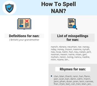 nan, spellcheck nan, how to spell nan, how do you spell nan, correct spelling for nan