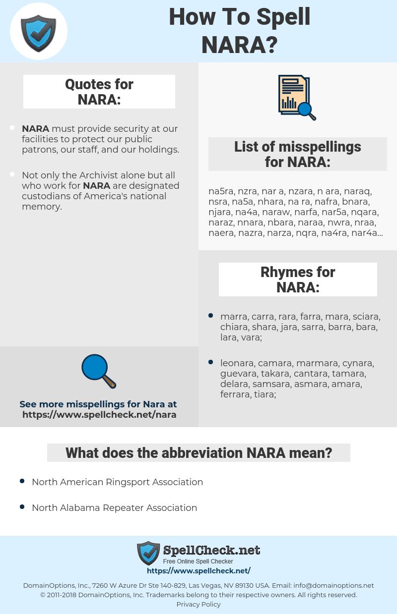 NARA, spellcheck NARA, how to spell NARA, how do you spell NARA, correct spelling for NARA