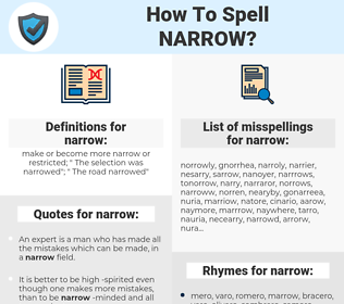 narrow, spellcheck narrow, how to spell narrow, how do you spell narrow, correct spelling for narrow
