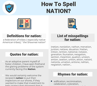 nation, spellcheck nation, how to spell nation, how do you spell nation, correct spelling for nation