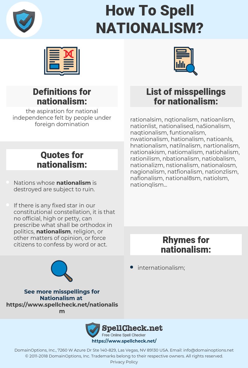 nationalism, spellcheck nationalism, how to spell nationalism, how do you spell nationalism, correct spelling for nationalism