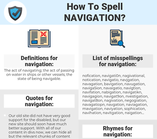 navigation, spellcheck navigation, how to spell navigation, how do you spell navigation, correct spelling for navigation