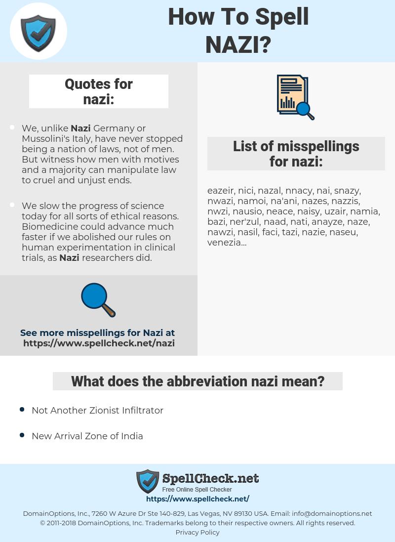 nazi, spellcheck nazi, how to spell nazi, how do you spell nazi, correct spelling for nazi