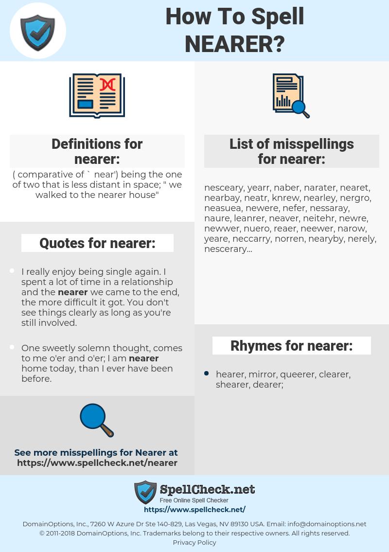 nearer, spellcheck nearer, how to spell nearer, how do you spell nearer, correct spelling for nearer