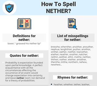 nether, spellcheck nether, how to spell nether, how do you spell nether, correct spelling for nether