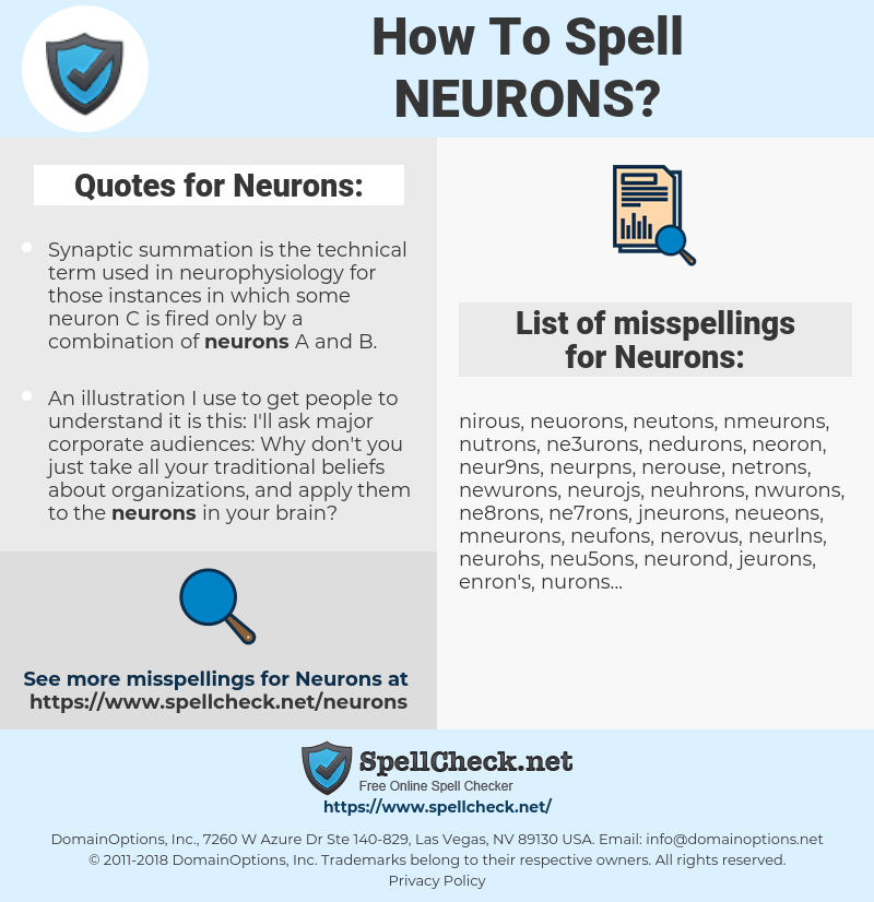 Neurons, spellcheck Neurons, how to spell Neurons, how do you spell Neurons, correct spelling for Neurons
