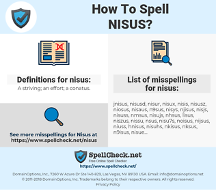 nisus, spellcheck nisus, how to spell nisus, how do you spell nisus, correct spelling for nisus