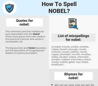 nobel, spellcheck nobel, how to spell nobel, how do you spell nobel, correct spelling for nobel