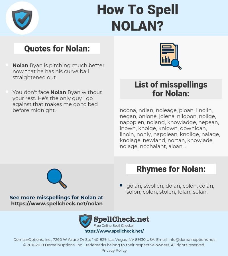 Nolan, spellcheck Nolan, how to spell Nolan, how do you spell Nolan, correct spelling for Nolan