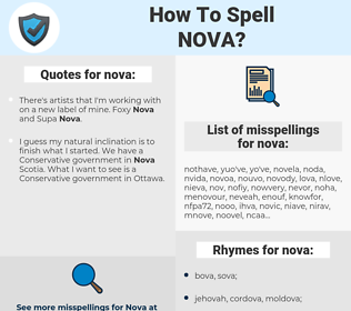 nova, spellcheck nova, how to spell nova, how do you spell nova, correct spelling for nova