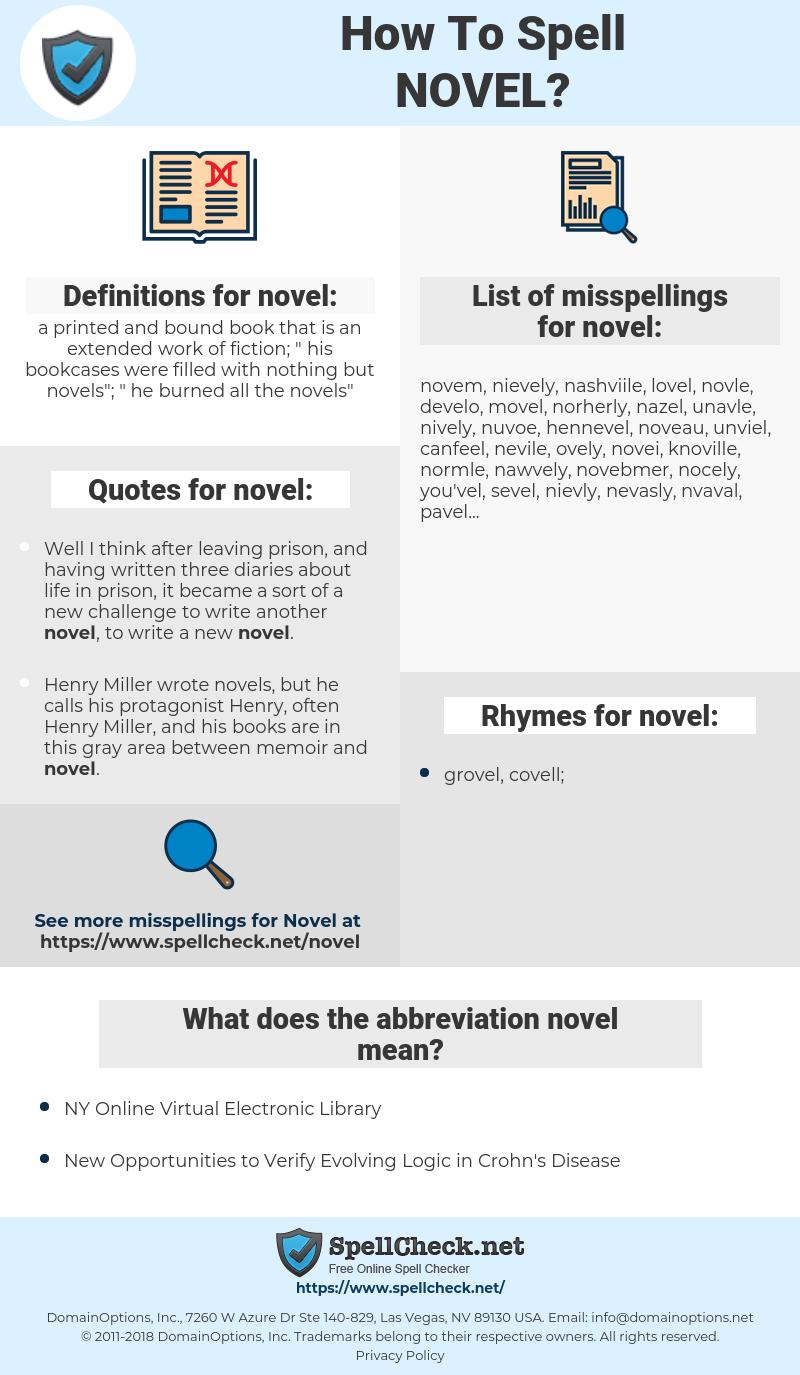 novel, spellcheck novel, how to spell novel, how do you spell novel, correct spelling for novel