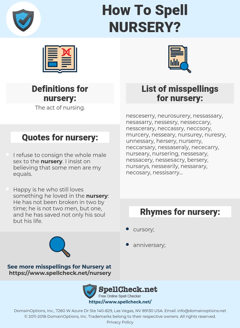 nursery, spellcheck nursery, how to spell nursery, how do you spell nursery, correct spelling for nursery