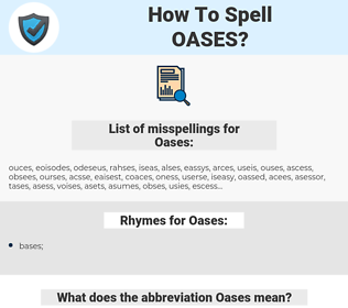 Oases, spellcheck Oases, how to spell Oases, how do you spell Oases, correct spelling for Oases