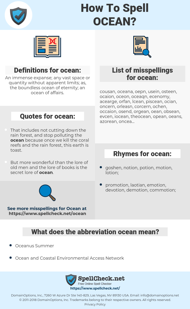 ocean, spellcheck ocean, how to spell ocean, how do you spell ocean, correct spelling for ocean