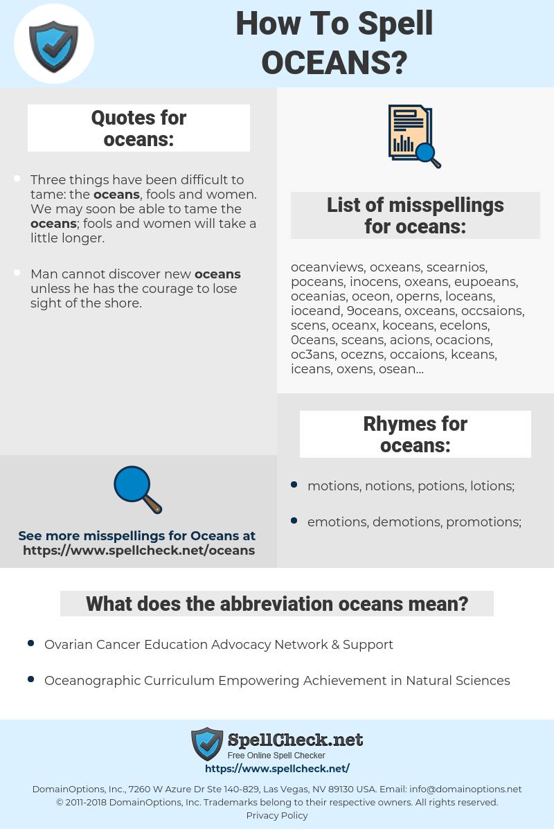 oceans, spellcheck oceans, how to spell oceans, how do you spell oceans, correct spelling for oceans