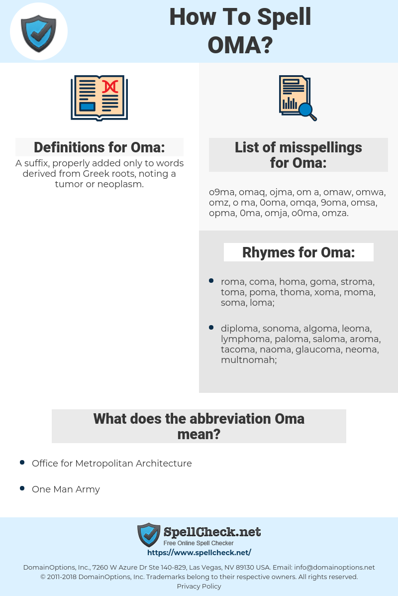 How To Spell Oma (And How To Misspell It Too) | Spellcheck net