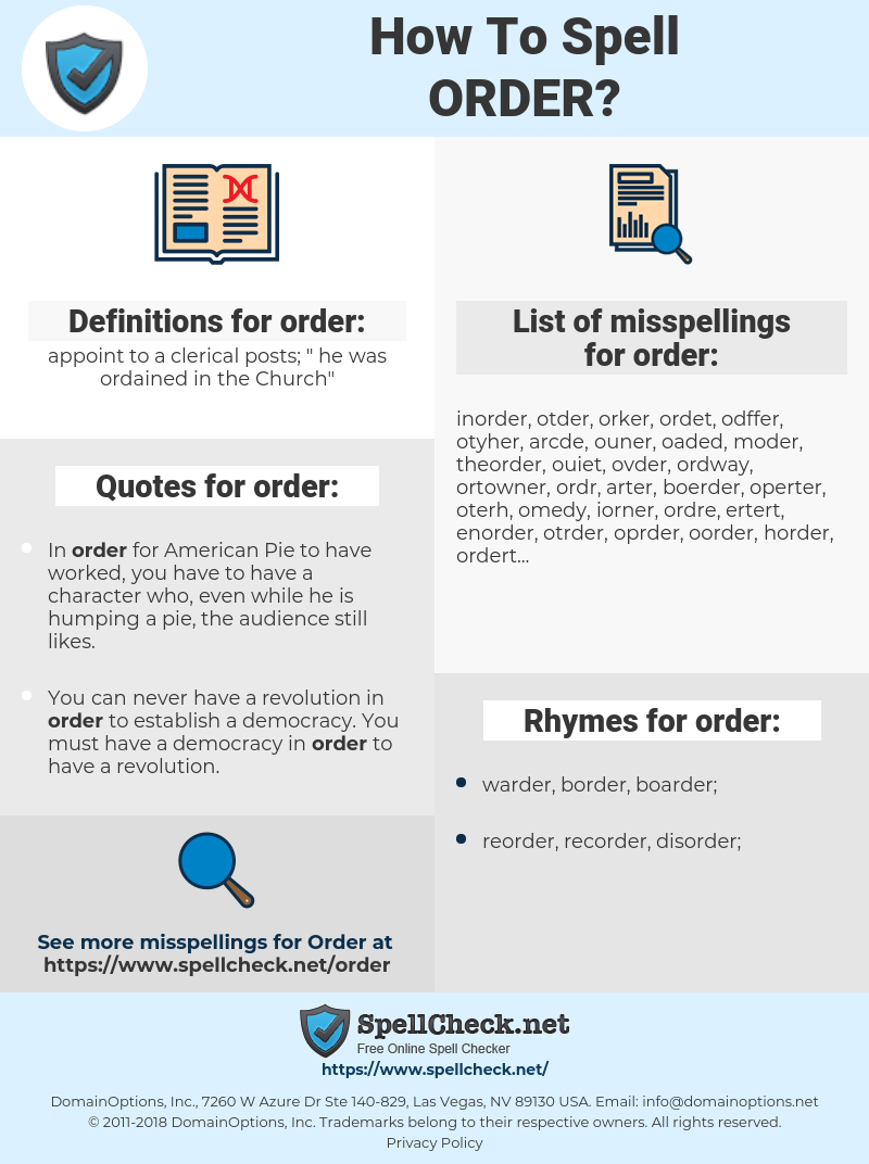 order, spellcheck order, how to spell order, how do you spell order, correct spelling for order