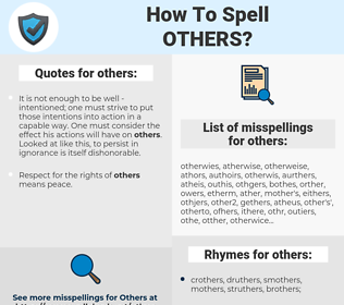 others, spellcheck others, how to spell others, how do you spell others, correct spelling for others