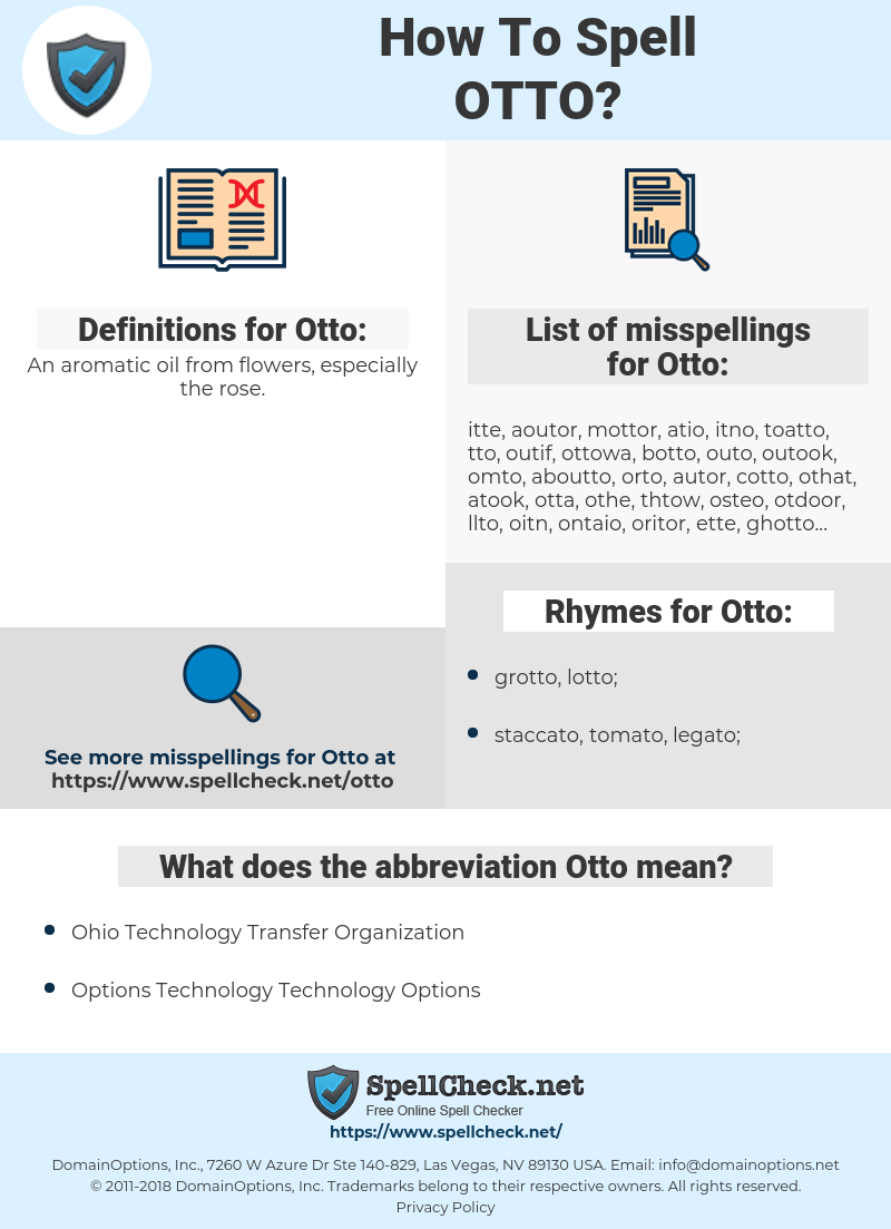 Otto, spellcheck Otto, how to spell Otto, how do you spell Otto, correct spelling for Otto