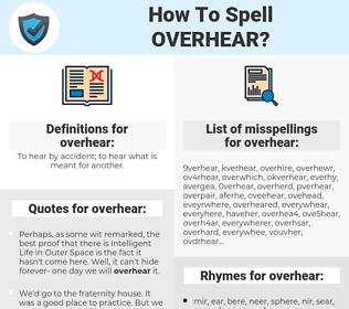 overhear, spellcheck overhear, how to spell overhear, how do you spell overhear, correct spelling for overhear