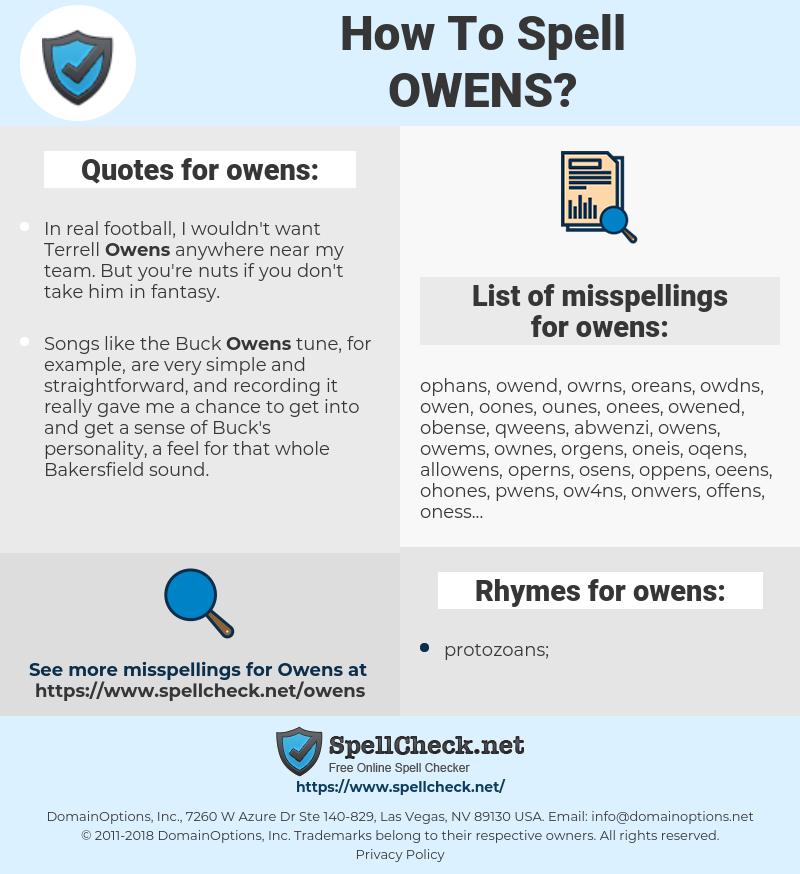 owens, spellcheck owens, how to spell owens, how do you spell owens, correct spelling for owens