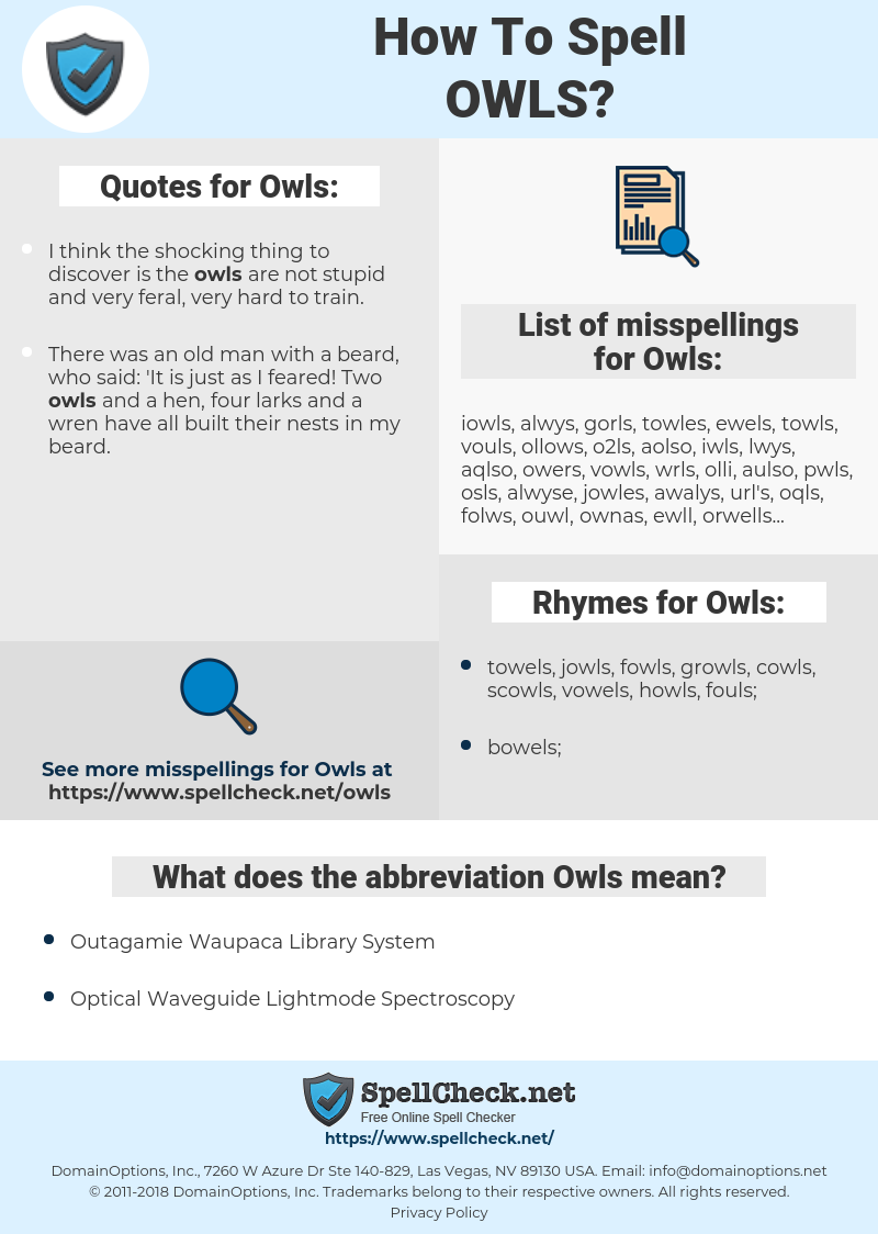 Owls, spellcheck Owls, how to spell Owls, how do you spell Owls, correct spelling for Owls