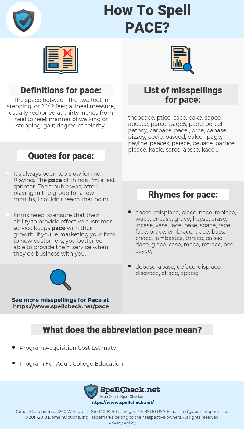 pace, spellcheck pace, how to spell pace, how do you spell pace, correct spelling for pace