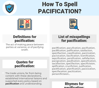 pacification, spellcheck pacification, how to spell pacification, how do you spell pacification, correct spelling for pacification