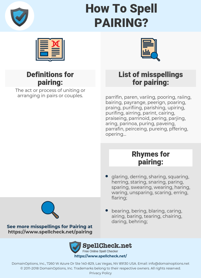 pairing, spellcheck pairing, how to spell pairing, how do you spell pairing, correct spelling for pairing