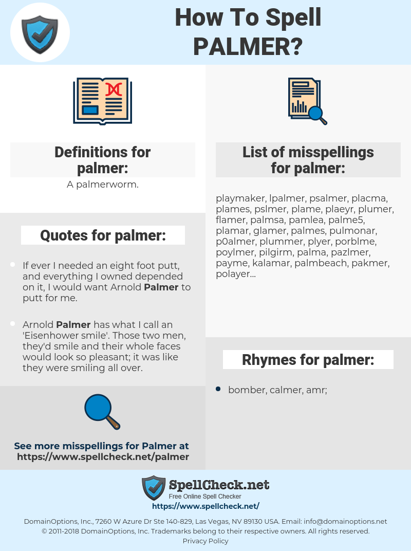 How To Spell Palmer (And How To Misspell It Too