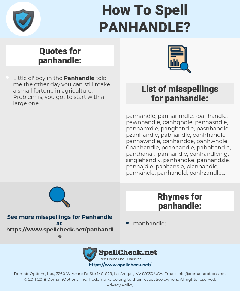 panhandle, spellcheck panhandle, how to spell panhandle, how do you spell panhandle, correct spelling for panhandle