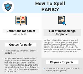 panic, spellcheck panic, how to spell panic, how do you spell panic, correct spelling for panic