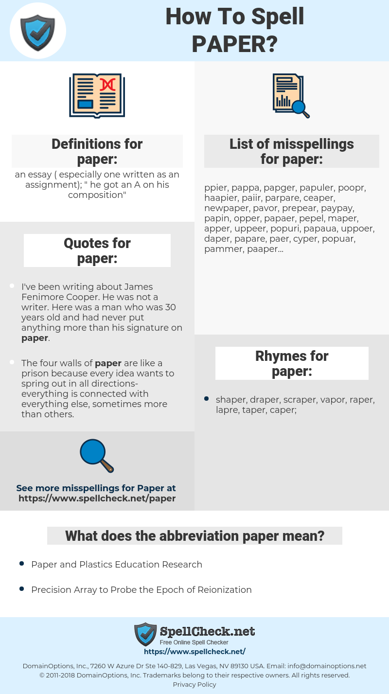 paper, spellcheck paper, how to spell paper, how do you spell paper, correct spelling for paper
