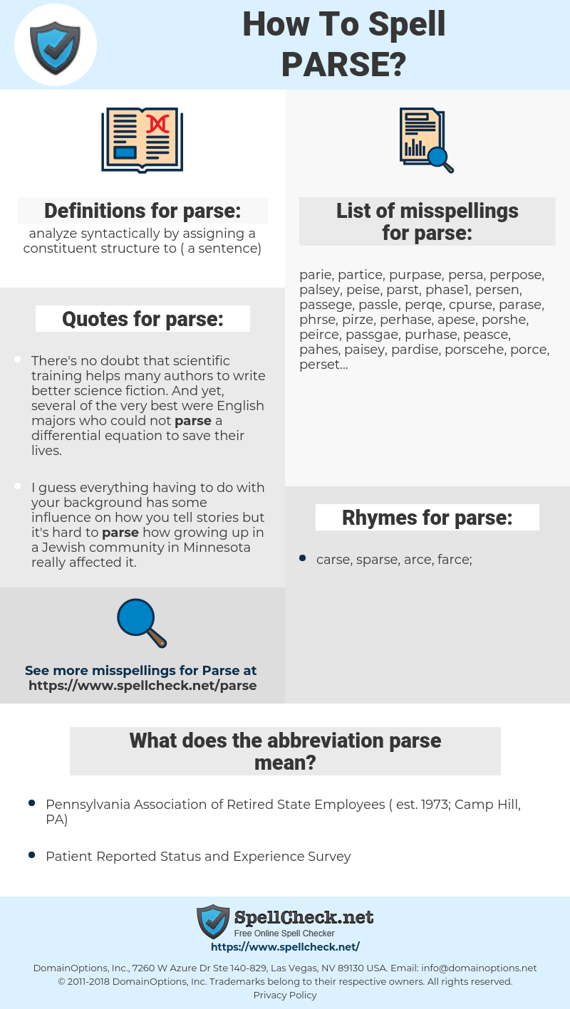 parse, spellcheck parse, how to spell parse, how do you spell parse, correct spelling for parse
