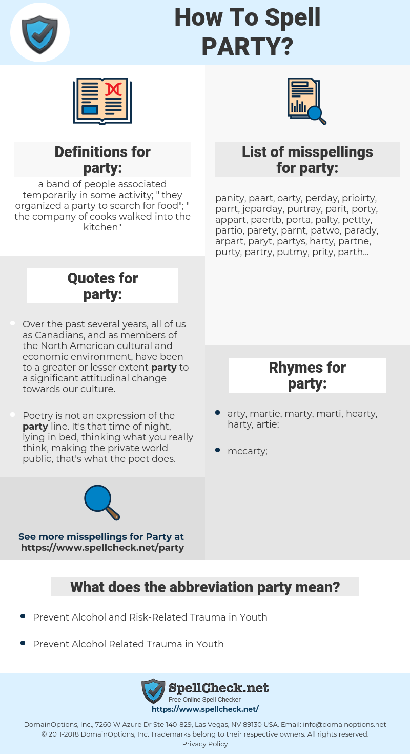 party, spellcheck party, how to spell party, how do you spell party, correct spelling for party