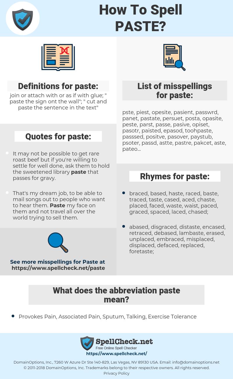 paste, spellcheck paste, how to spell paste, how do you spell paste, correct spelling for paste