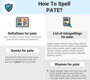 pate, spellcheck pate, how to spell pate, how do you spell pate, correct spelling for pate