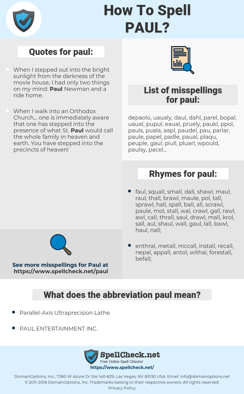 paul, spellcheck paul, how to spell paul, how do you spell paul, correct spelling for paul