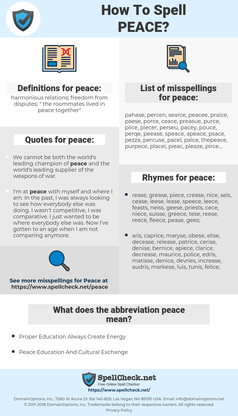 peace, spellcheck peace, how to spell peace, how do you spell peace, correct spelling for peace